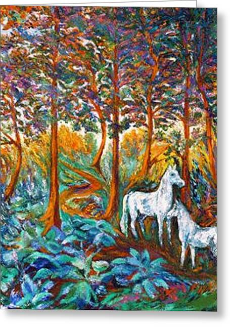Animal Art Posters In Mixed Media Greeting Cards - HORSES in the SHADE Greeting Card by Gunter  Hortz