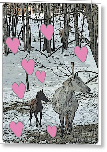 Patricia Keller Greeting Cards - Horses in the Snowy Hearts Greeting Card by Patricia Keller