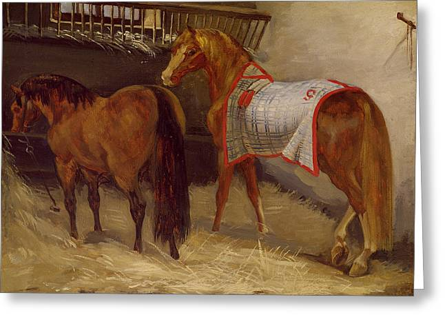 Blanket Photographs Greeting Cards - Horses In The Stables Oil On Canvas Greeting Card by Theodore Gericault