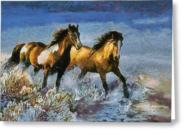 Horse In Water Paint Greeting Cards - Horses In Water Greeting Card by Catherine Lott