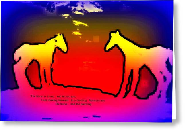 Feel The Horses Inside Of Us And The Space Outside  Greeting Card by Hilde Widerberg
