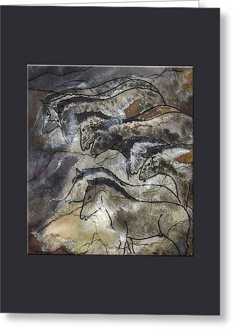 20-30 Mixed Media Greeting Cards - Horses Lascaux Cave Small Blue Grey Border  Greeting Card by L Brown