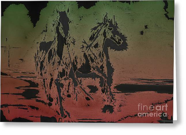 Moon Set Digital Art Greeting Cards - Horses Greeting Card by Manik