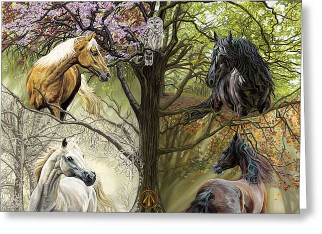 White Horse Pastels Greeting Cards - Horses of the Four Seasons Greeting Card by Kim McElroy