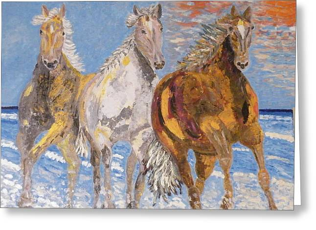 Beaches Reliefs Greeting Cards - Horses on the Beach Greeting Card by Vicky Tarcau