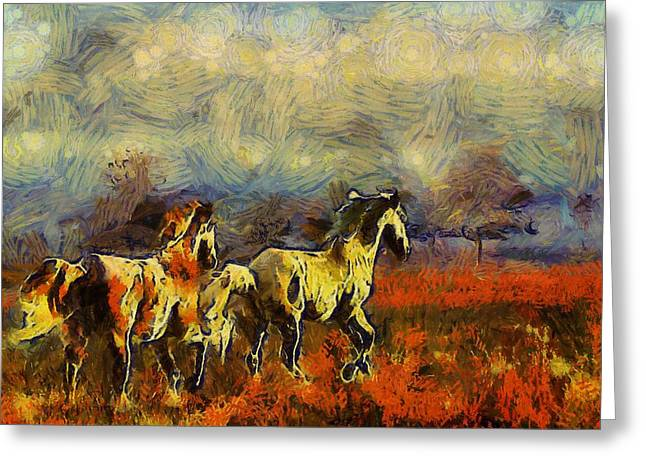 Van Gogh Style Greeting Cards - Horses on the Gogh Greeting Card by Shannon Story