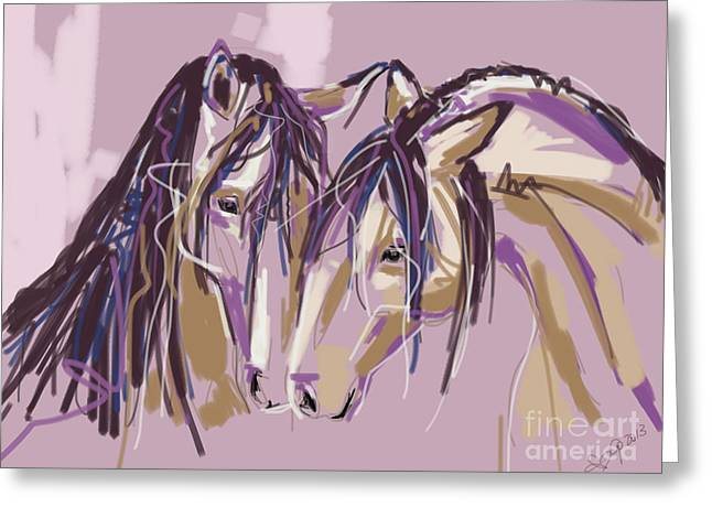 Modern Digital Art Digital Art Greeting Cards - horses Purple pair Greeting Card by Go Van Kampen