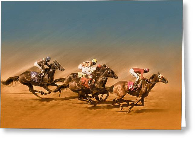 Runner Greeting Cards - Horses racing to the Finish line Greeting Card by Eduardo Tavares