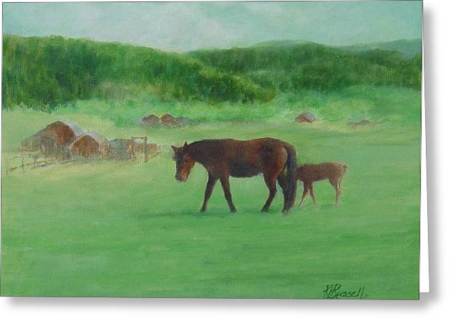 K Joann Russell Greeting Cards - Horses Rural Pasture Western Landscape Original Oil Colorful Art Mare Oregon Artist K. Joann Russell Greeting Card by K Joann Russell