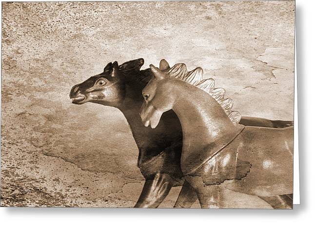 Prehistoric Digital Greeting Cards - Horses Trapped In A Dream Greeting Card by Jeff  Gettis