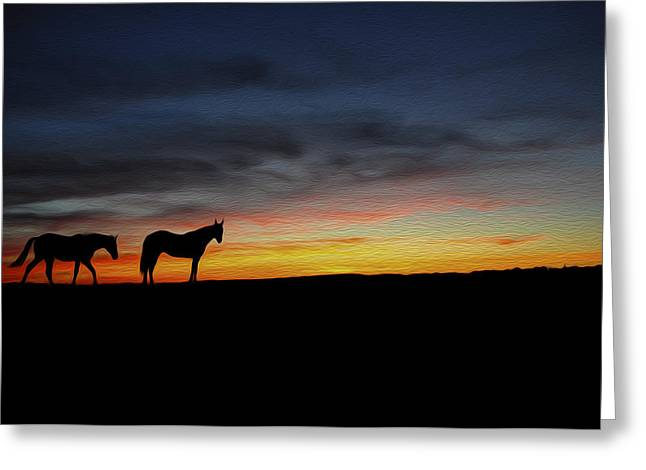 Ranch Digital Greeting Cards - Horses walking in the sunset Greeting Card by Aged Pixel