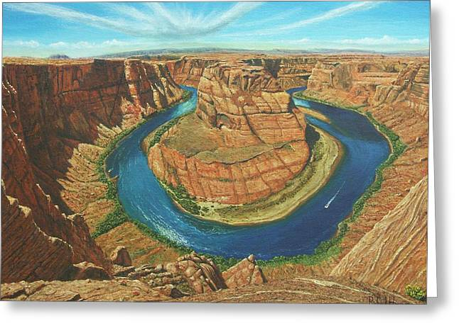 Horseshoe Greeting Cards - Horseshoe Bend Colorado River Arizona Greeting Card by Richard Harpum