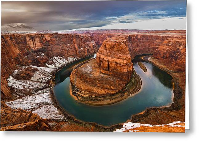 Incised Greeting Cards - Horseshoe Bend in Snow  Greeting Card by Michael Flaherty
