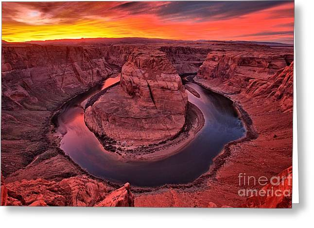 Horseshoe Greeting Cards - Horseshoe Bend Sunset Greeting Card by Adam Jewell
