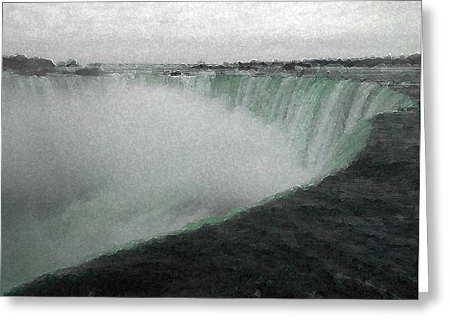Grey Clouds Greeting Cards - Horseshoe Falls in Winter Greeting Card by Richard Andrews