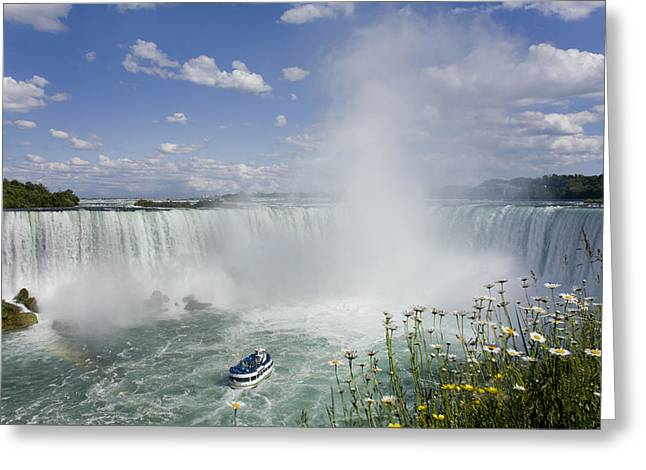Empowerment Photographs Greeting Cards - Horseshoe Falls With Maid Of The Mist Greeting Card by Peter Mintz