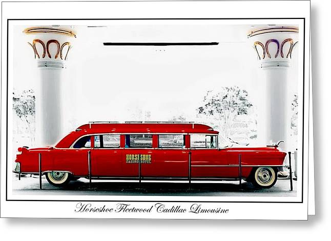 Caddy Paintings Greeting Cards - Horseshoe Fleetwood Cadillac Limousine Greeting Card by Barbara Chichester