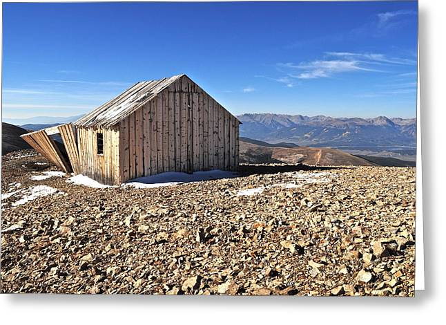 Leadville Greeting Cards - Horseshoe Mountain Mining Shack Greeting Card by Aaron Spong