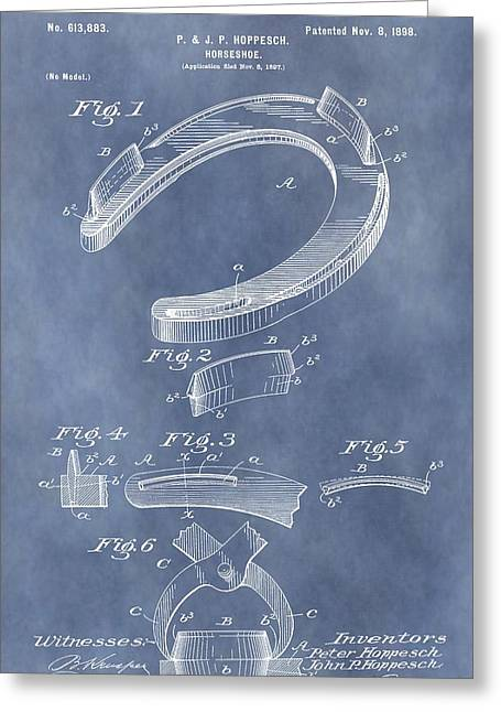 Farrier Greeting Cards - Horseshoe Patent Greeting Card by Dan Sproul