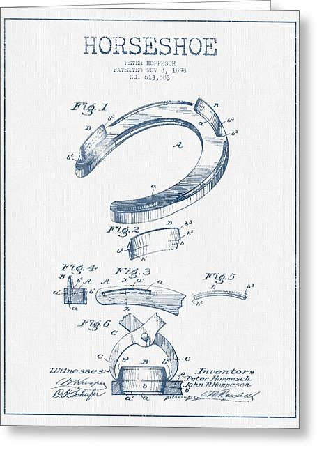 Horseshoe Greeting Cards - Horseshoe Patent Drawing from 1898- Blue Ink Greeting Card by Aged Pixel