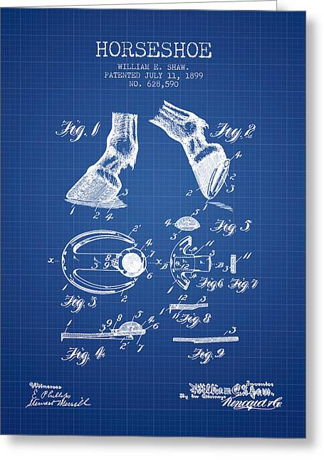 Tack Greeting Cards - Horseshoe Patent from 1899 - Blueprint Greeting Card by Aged Pixel