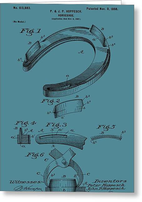 Farrier Greeting Cards - Horseshoe Patent On Blue Greeting Card by Dan Sproul