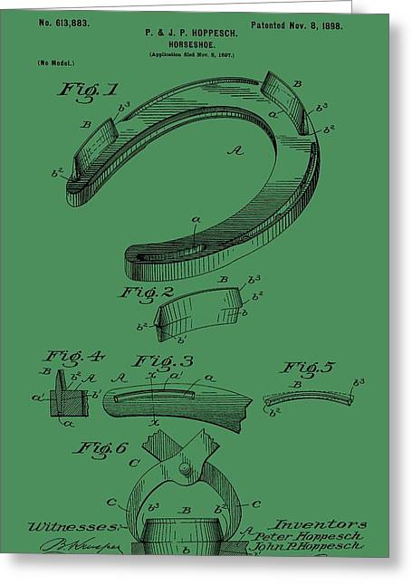 Farrier Greeting Cards - Horseshoe Patent On Green Greeting Card by Dan Sproul