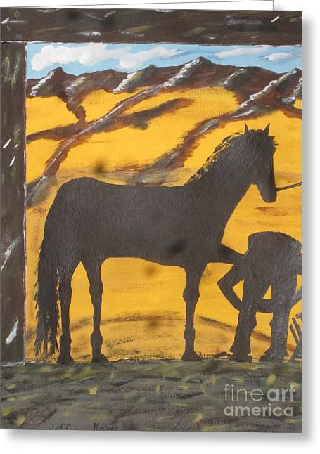 Silhouettes Of Horses Greeting Cards - Horseshoeing Silhouette Greeting Card by Jeffrey Koss
