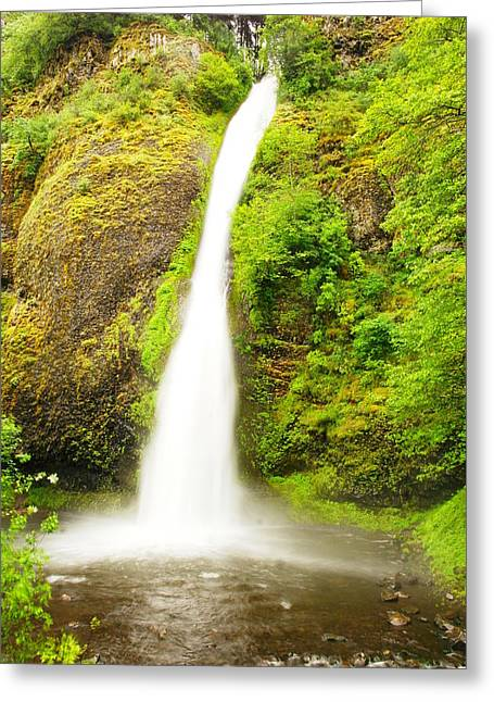 Horsetail Falls In The Spring Greeting Card by Jeff Swan
