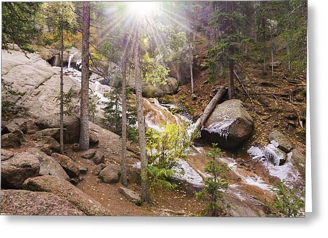 Cripple Greeting Cards - Horsethief Falls Sunburst - Cripple Creek Colorado Greeting Card by Brian Harig