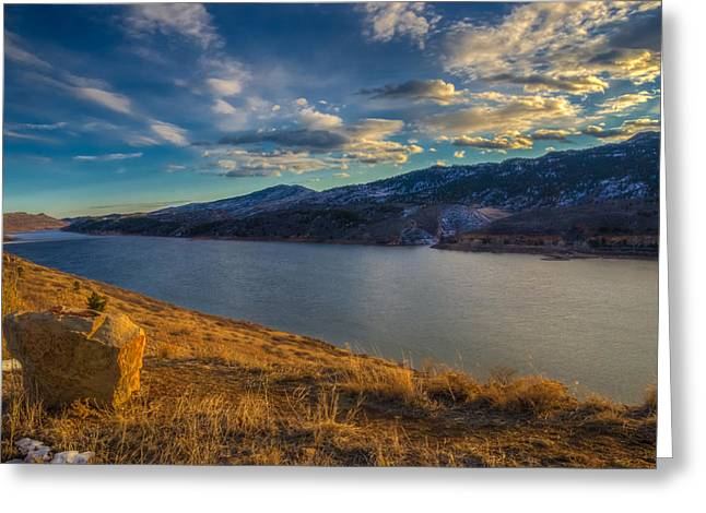 Horsetooth Reservoir Greeting Cards - Horsetooth Reservoir Late Afternoon Greeting Card by Harry Strharsky