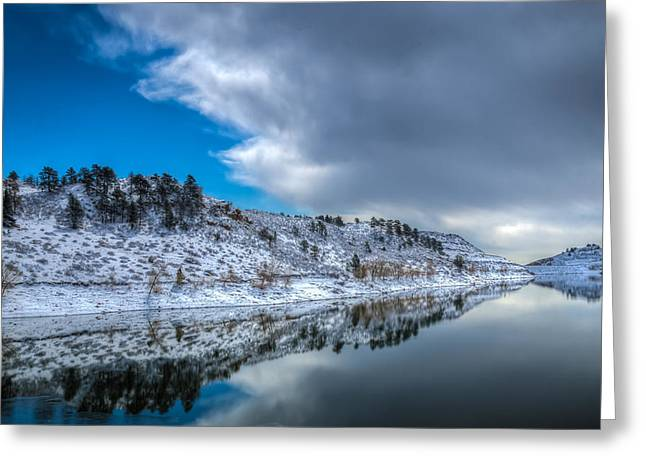 Horsetooth Reservoir Greeting Cards - Horsetooth Reservoir Reflection Greeting Card by Harry Strharsky