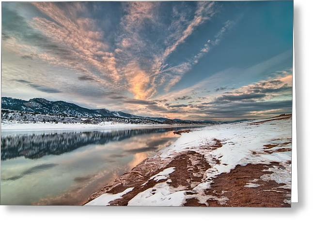 Horsetooth Sunset Hdr Greeting Card by Preston Broadfoot