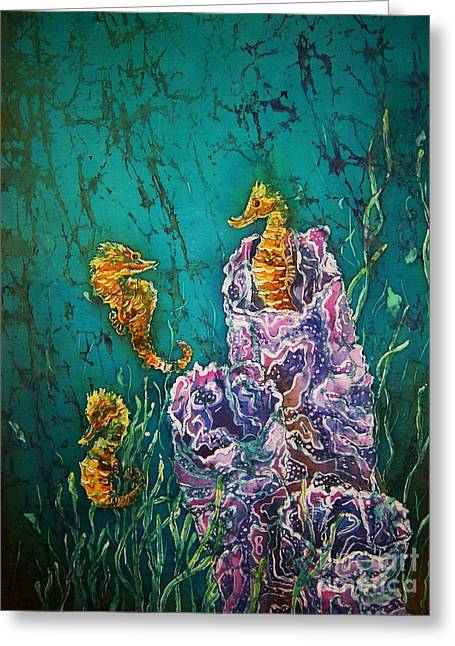 Seahorse Tapestries - Textiles Greeting Cards - Horsin Around Greeting Card by Sue Duda