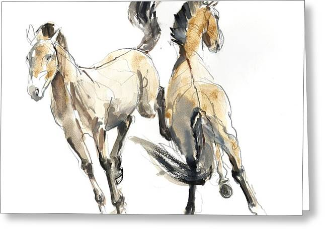 Bucking Horses Greeting Cards - Horsing, 2013 Watercolour And Pigment On Paper Greeting Card by Mark Adlington