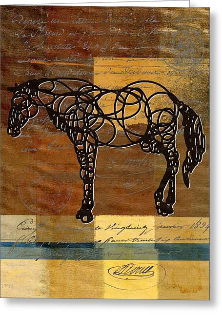 Abstract Horse Greeting Cards - Horso - 70s01br02t Greeting Card by Variance Collections