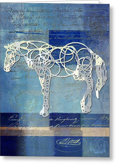 Blue Horse Greeting Cards - Horso - sp085134243bl0101 Greeting Card by Variance Collections