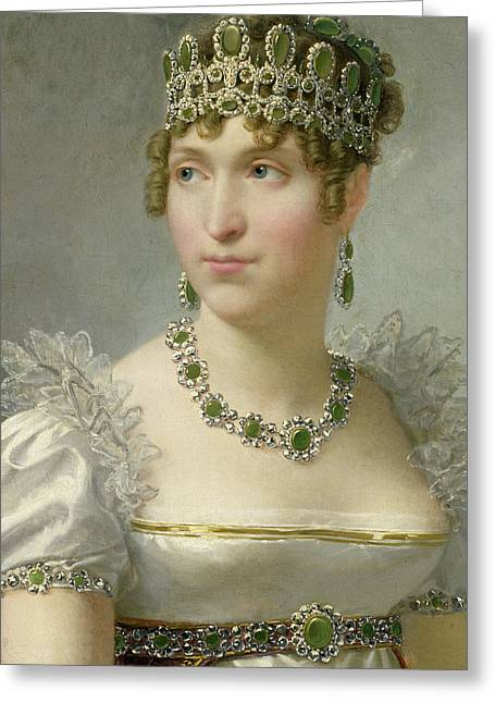 Aristocrat Paintings Greeting Cards - Hortense de Beauharnais Greeting Card by Jean-Baptiste Regnault