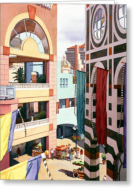 Shopping Greeting Cards - Horton Plaza San Diego Greeting Card by Mary Helmreich