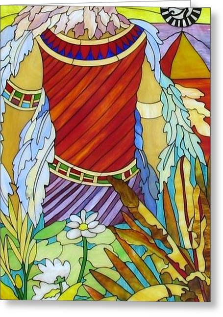 Men Glass Greeting Cards - Horus Greeting Card by Suzanne Tremblay