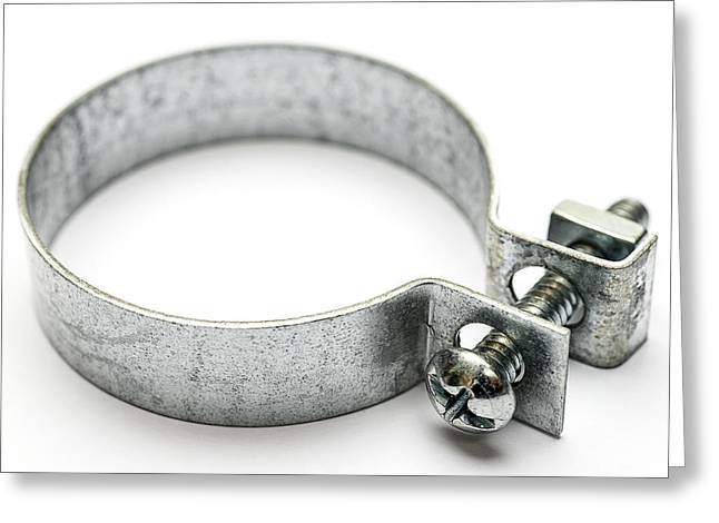 Clamps Greeting Cards - Hose Clamp Isolated on White Greeting Card by Donald  Erickson