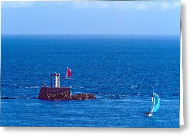 Sailboat Images Greeting Cards - Hospic Lighthouse At Ile-de-brehat Greeting Card by Panoramic Images