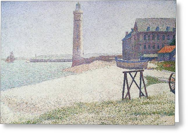 Georges Pierre Greeting Cards - Hospice and lighthouse at Honfleur Greeting Card by Georges Seurat