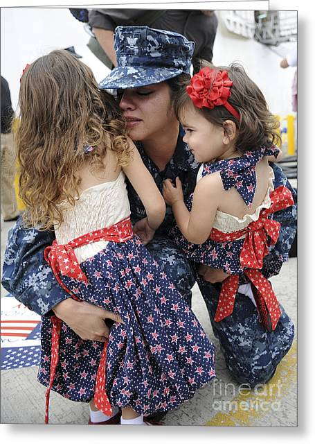 Deployment Greeting Cards - Hospital Corpsman Hugs Her Daughters Greeting Card by Stocktrek Images