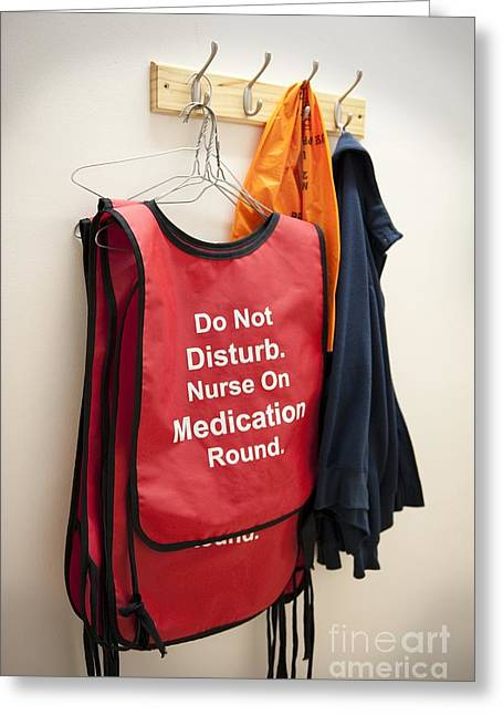 Medication Greeting Cards - Hospital Nurse Warning Jacket Greeting Card by Leeds Teaching Hospitals NHS Trust