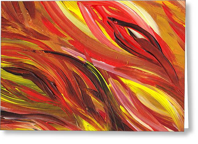 Emotions Greeting Cards - Hot Abstract Flames Greeting Card by Irina Sztukowski