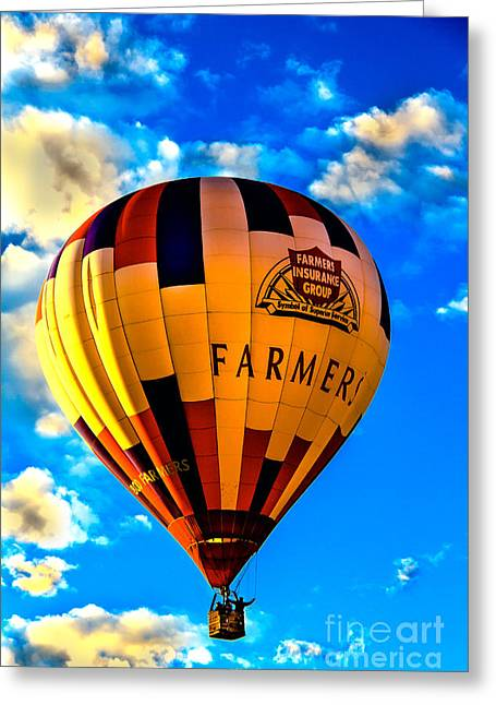 West Wetland Park Greeting Cards - Hot Air Ballon Farmers Insurance Greeting Card by Robert Bales
