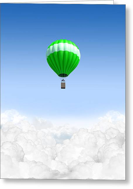 Above The Clouds Greeting Cards - Hot Air Balloon Above The Clouds Greeting Card by Allan Swart