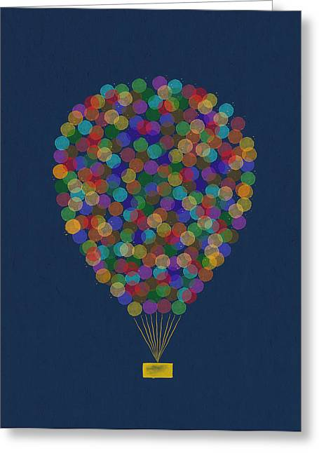 Hot Color Greeting Cards - Hot air balloon Greeting Card by Aged Pixel