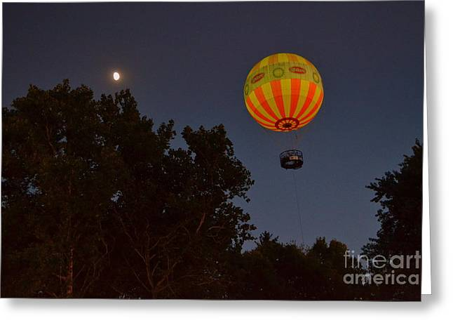 Hot Air Balloon At Night  Greeting Card by Amy Lucid
